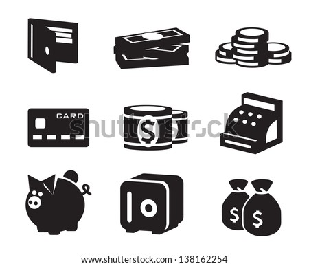 Money icons vector set - stock vector