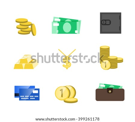 Money icons vector set. Money sign vector illustration. Vector cash. Saving cash and investments vector icons. Capital increase vector concept. Money in the Bank.