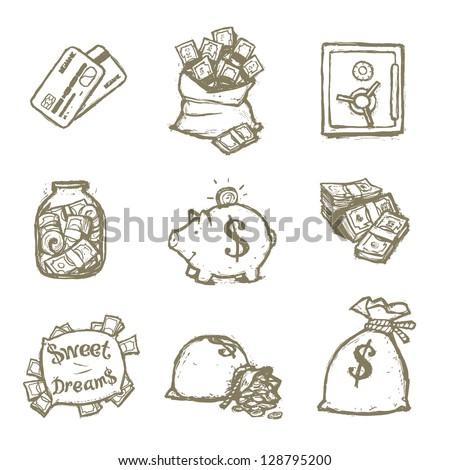 money illustration set - stock vector