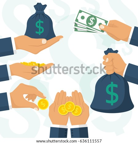 Money in hand set. Bag of cash in businessman hands. Showing, pay, giving coin and banknote. Bucks hold isolated on white background. Vector illustration flat design. Template for financial projects.
