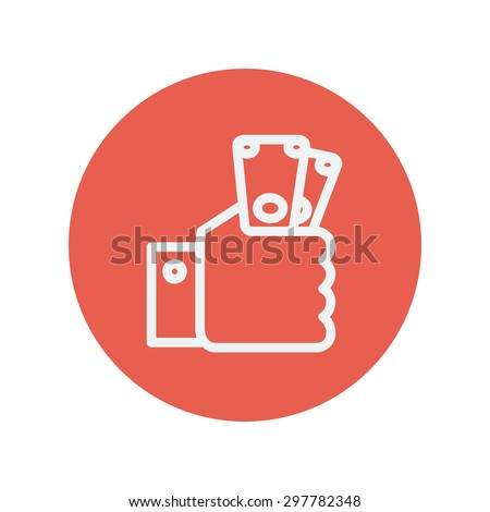Money in hand thin line icon for web and mobile minimalistic flat design. Vector white icon inside the red circle. - stock vector