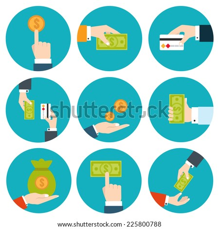 Money in hands icons - stock vector