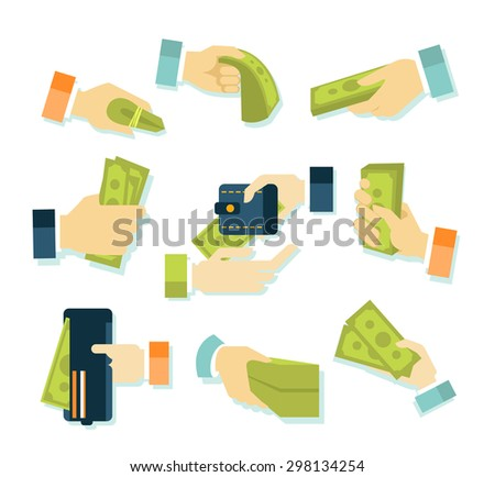 Money in hands icons flat style set - stock vector