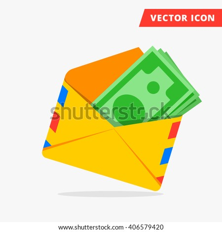 Money in post envelope flat vector icon illustration of hidden wages, salaries black payments, hidden money icon, tax evasion, freedom from taxes sign, money cash icon, money in envelope color teaser - stock vector