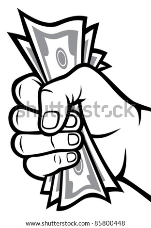 Money in the hand (Hand with money, Hand holding Banknotes ) - stock vector
