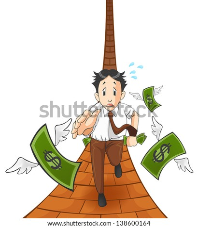 Money is flying away from the pocket. It is because of inflation, economic recession, or business loss? (path version)  - stock vector