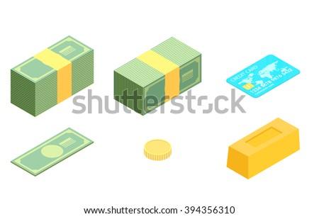 Money isometric icon set - stock vector