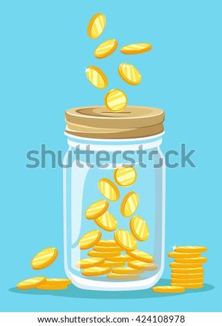 Money Jar. Saving dollar coin in jar. concept vector illustration Flat design style vector illustration. Saving money jar. - stock vector