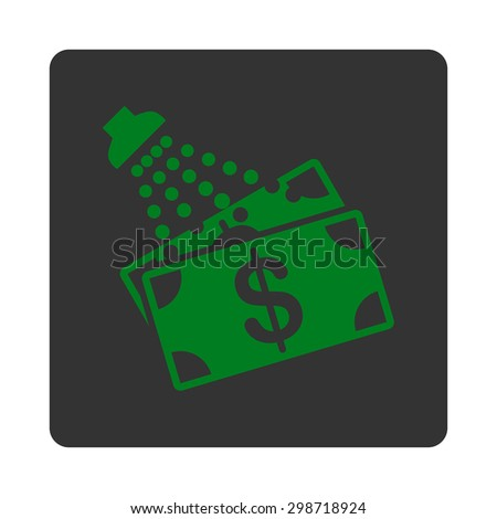 Money Laundry icon from Commerce Buttons OverColor Set. Vector style is green and gray colors, flat square rounded button, white background.