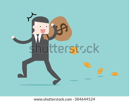 Money leak TAX spending leak. Flat design business financial marketing commercial banking web minimal concept cartoon illustration. - stock vector