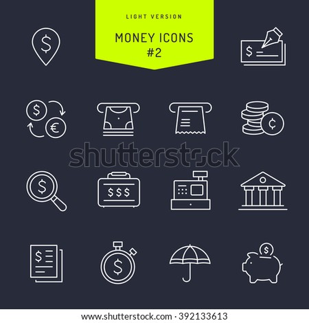 Money Light Vector Icons Set 1