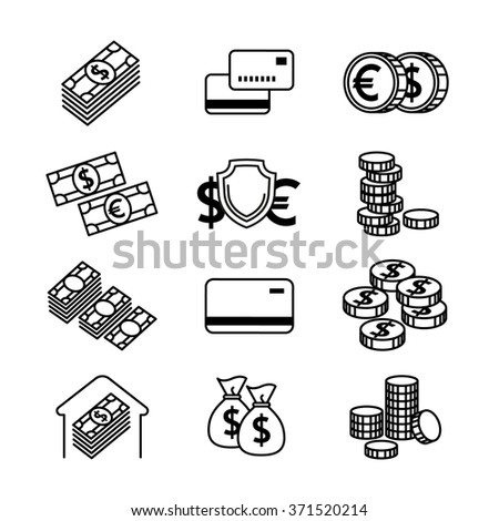 Money line vector icons set. Money finance,  credit card bank, commerce currency coin, cash money, gold money illustration - stock vector