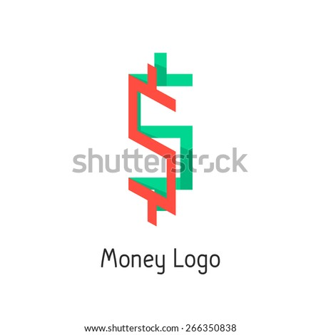 money logotype with colored dollar sign. concept of corporate credit, e-commerce, deposit, abundance, economy, usd mark, finance sector. flat style modern logo design eps10 vector illustration - stock vector