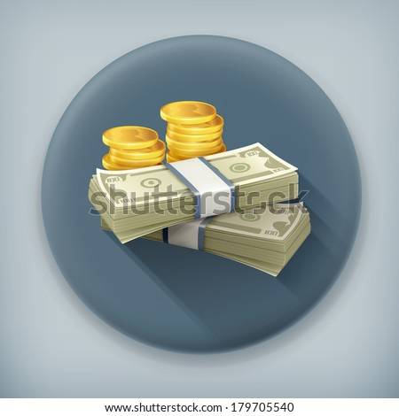 Money, long shadow vector icon - stock vector