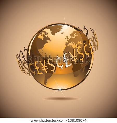 Money makes the world go around. EPS 10 vector, grouped for easy editing. No open shapes or paths. Portions of this image supplied by NASA. - stock vector