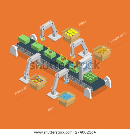 Money Making Process Concept. Robotized Conveyer For Making Money.  Robots Assemble Money Using Idea, Analysis, Investment And Time Items. Isometric Vector Illustration. - stock vector