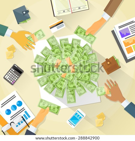 Money on Desk Hands Business People Group Crowd Funding Put Money Donation Investors Vector Illustration