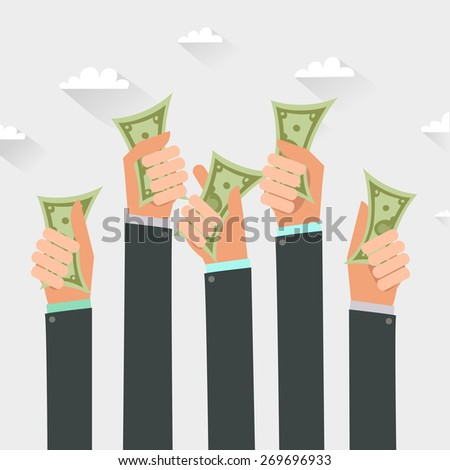 Money on hands. Businessmen giving a cache. Vector illustration in flat style isolated on white