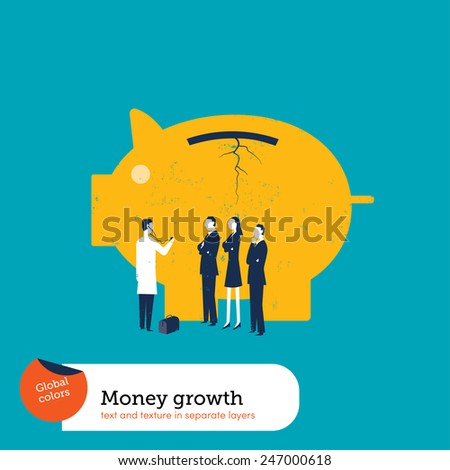 Money pig sick with doctor and businessmen. Vector illustration Eps10 file. Global colors. Text and Texture in separate layers.  - stock vector
