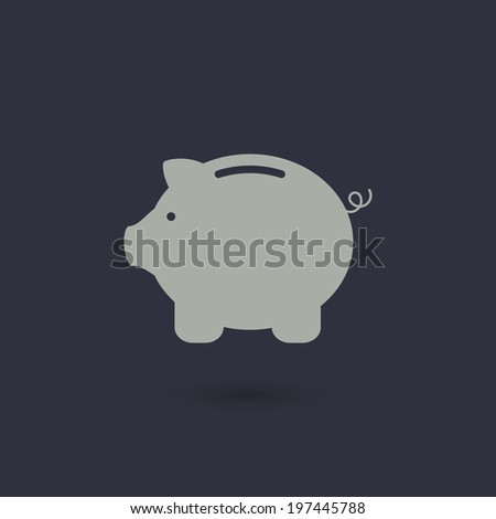 Money pig vector icon for web or business illustration. Piggy bank - stock vector
