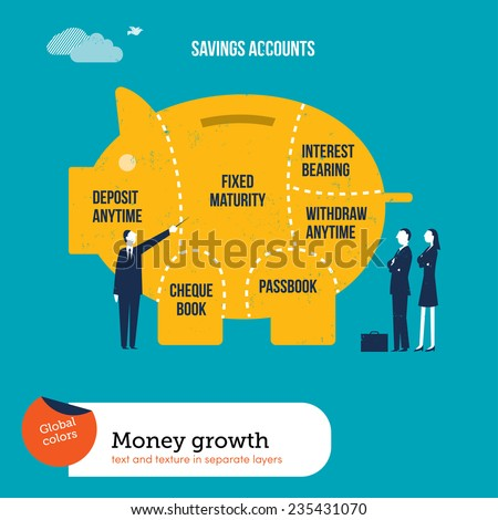Money pig with saving accounts. Vector illustration Eps10 file. Global colors. Text and Texture in separate layers. - stock vector