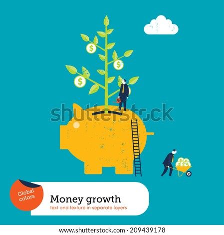 Money Plant in a Piggy Bank - stock vector