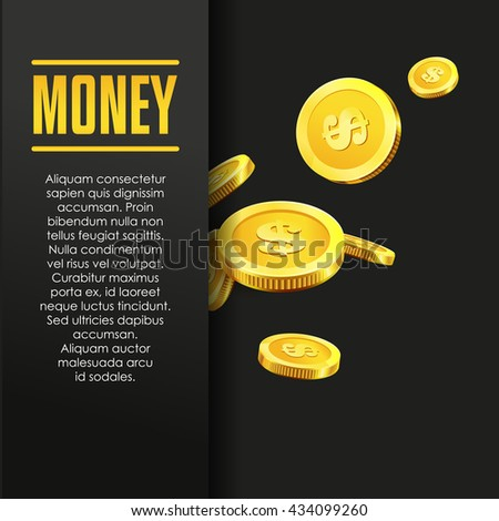 Money poster or banner design template with golden coins and copy space for text. Vector illustration. Money making. Bank deposit. Financial. Gold and black colors. Business finance vector background. - stock vector
