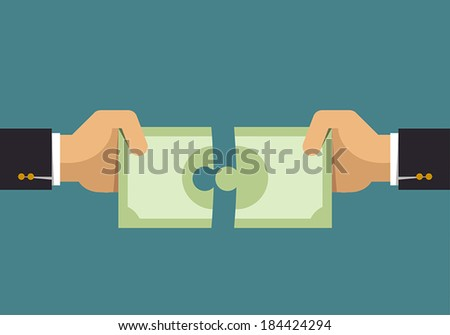 Money puzzle, Business idea - stock vector