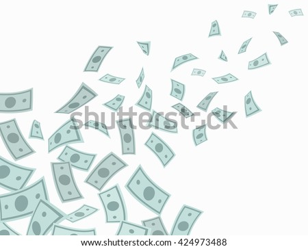 Money rain falling from above. Vector Illustration.  - stock vector