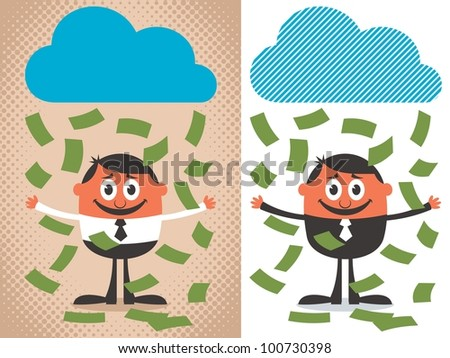 Money Rain: Money raining over cartoon character. The illustration is in 2 versions. No transparency and gradients used. - stock vector