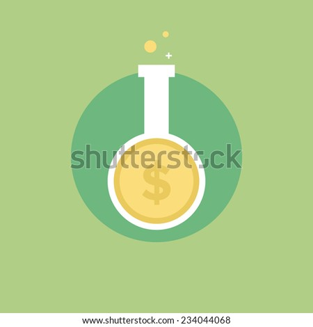 Money research process, financial investment growth, success market idea analysis. Flat icon modern design style vector illustration concept. - stock vector