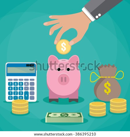 Money saving concept. Vector illustration in flat style design. Piggy bank, calculator and hand with coin. Finance symbols and icons. - stock vector