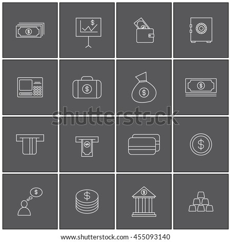 Money set icon outline illustration vector