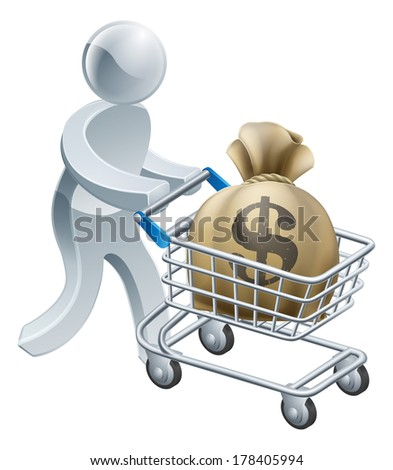 Money shopping cart trolley of a person pushing shopping cart or trolley with a large sack of money in it. - stock vector