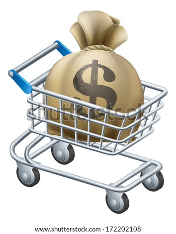 Money shopping cart trolley of a shopping cart or trolley with a large sack of money in it. - stock vector