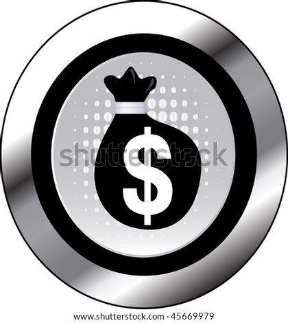 money sign icon button - stock vector