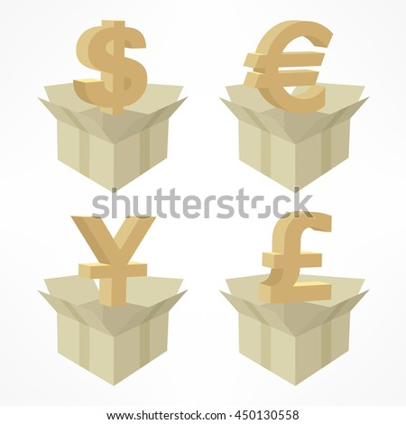 Money signs in open boxes on white vector illustration - stock vector