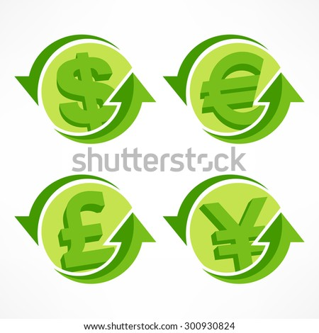 Money signs with arrow on white, financial  infographic, vector illustration
