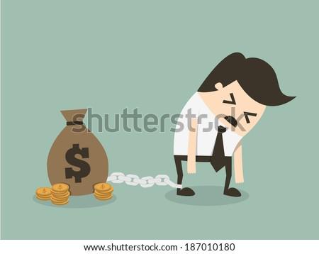 Money slave - stock vector