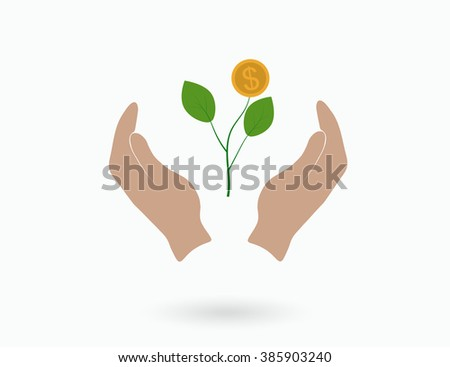 Money sprout in the hands of man. The concept of growth and profit. Vector.