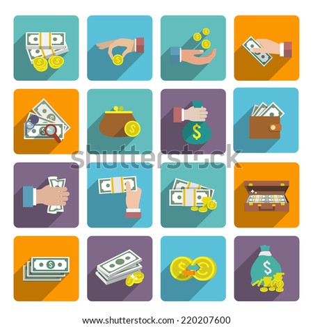 Money stack bag wallet icon flat set with investment market wealth elements isolated vector illustration - stock vector