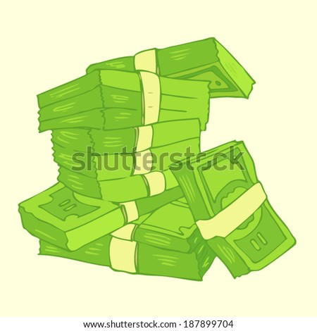 money stack vector Illustration, hand drawing - stock vector