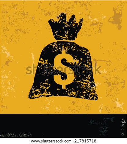 Money symbol on grunge yellow background,grunge vector - stock vector