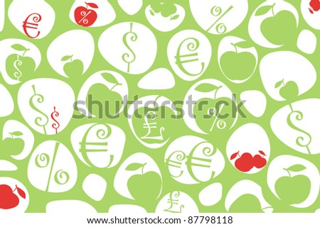 Money symbols and apples background - stock vector