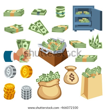 Money symbols and coin icons vector set. Concept icons for finance, banking, payment. Currency money symbols online commerce. Money symbols icons website development mobile phone services and apps.