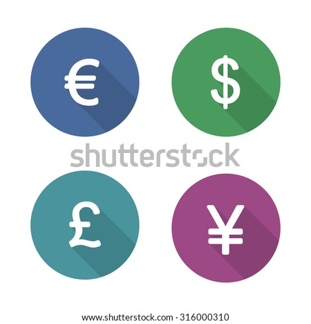 Money symbols flat design icons set. Currency long shadow silhouette signs. Usa dollar and Great Britain pound in color circles. Japanese yen and Europe euro badges. Vector economics infographic
