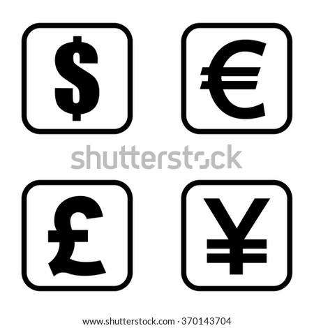 Money symbols set . Vector illustration - stock vector