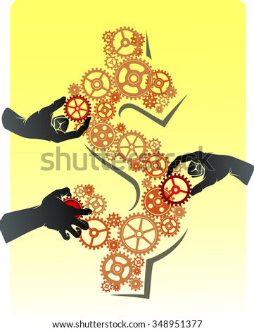 Money Teamwork-Three hands putting/rotating together the cogs forming a US currency