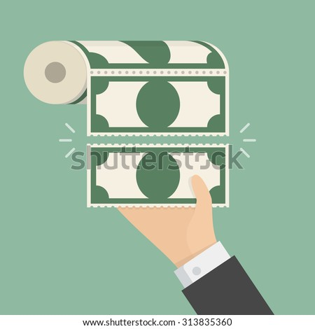 Money Toilet Paper. Business concept illustration - stock vector