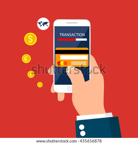 Money transaction,business, mobile banking and mobile payment. Vector illustration.
